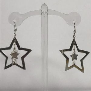 Sterling Silver Star Pierced Earrings Vintage 925